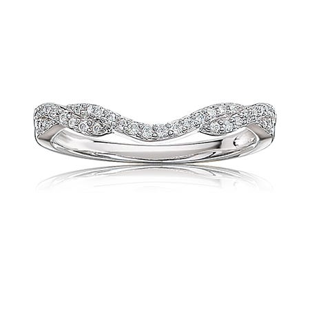 Diamond Woven-Design Contour Band in 14k White Gold