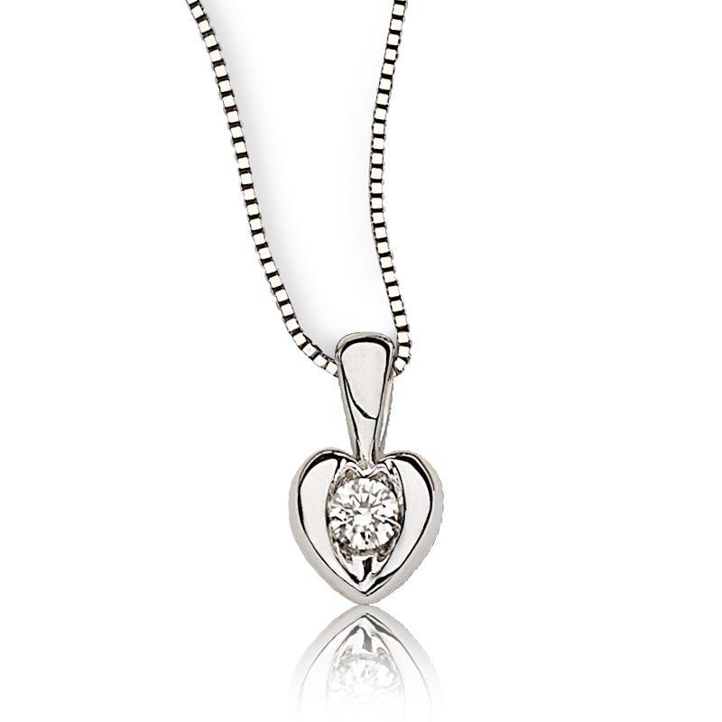Sirena Diamond Heart Pendant in 14k White Gold