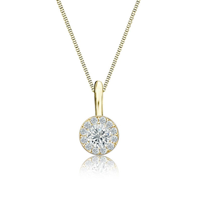 White Diamond Halo ¼ct. Pendant in 14k Yellow Gold