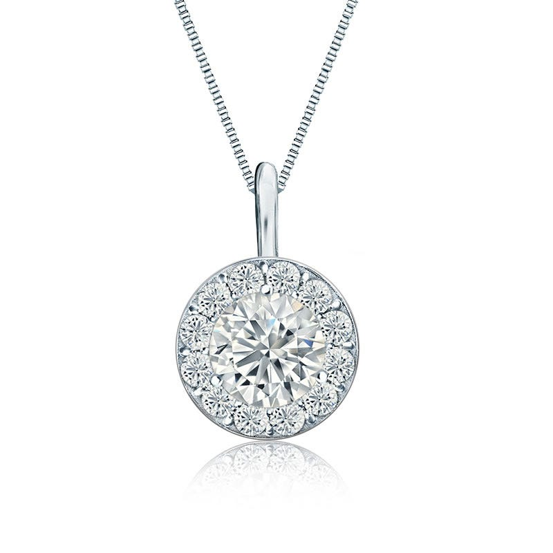 White Diamond Halo ¾ct. Pendant in 14k White Gold