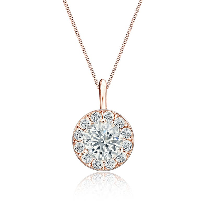 Diamond Halo 1ct. t.w. Pendant in 14k Rose Gold