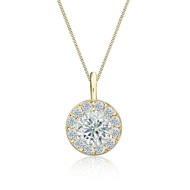 Diamond Halo 1ct. t.w. Pendant in 14k Yellow Gold