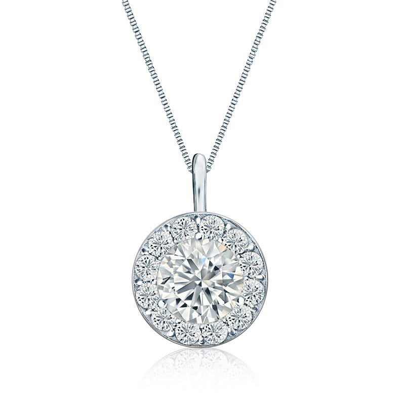 Diamond 2ct. t.w. Halo Pendant in 14k White Gold