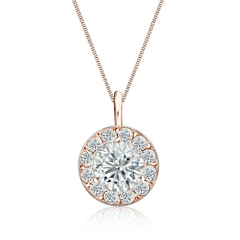 Diamond 2ct. t.w. Halo Pendant in 14k Rose Gold