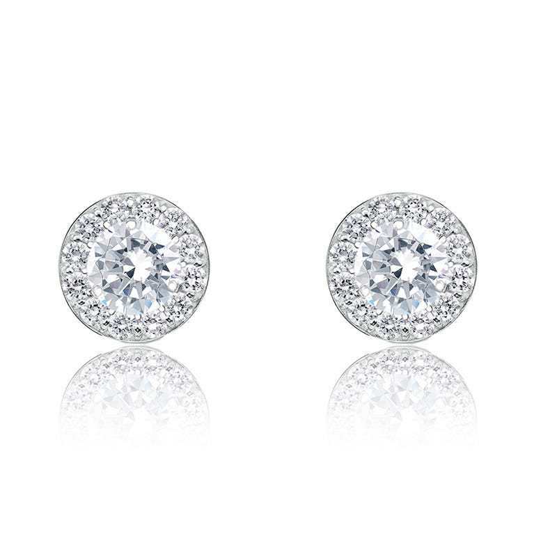 Brilliant-Cut ¼ct. Halo Diamond Stud Earrings in 14k White Gold