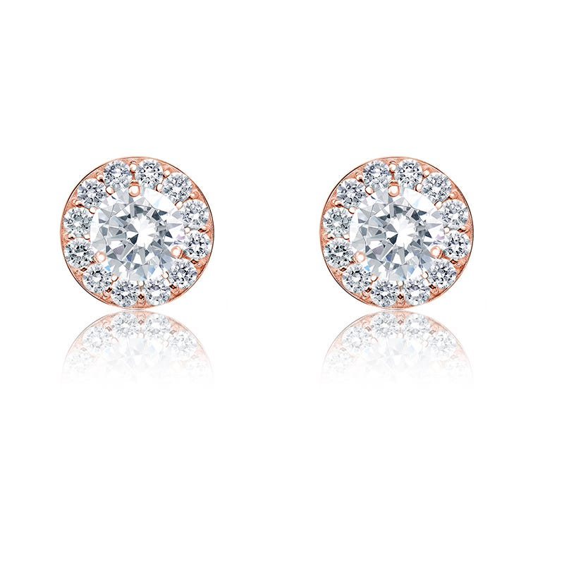 Diamond ¼ct. t.w. Halo Stud Earrings in 14k Rose Gold