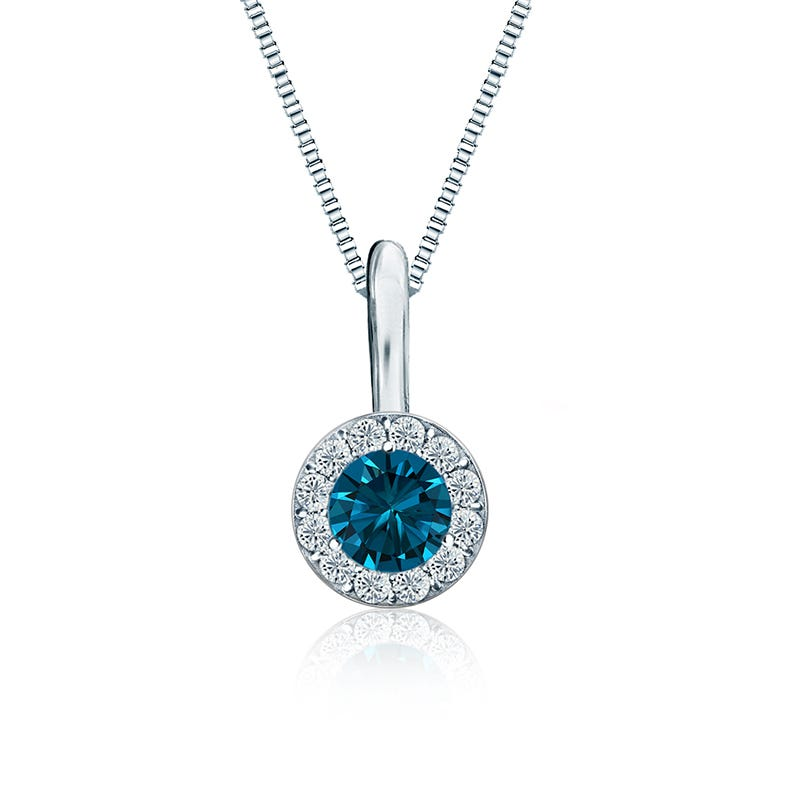 Blue & White Diamond ¼ct. t.w. Halo Pendant in 14k White Gold