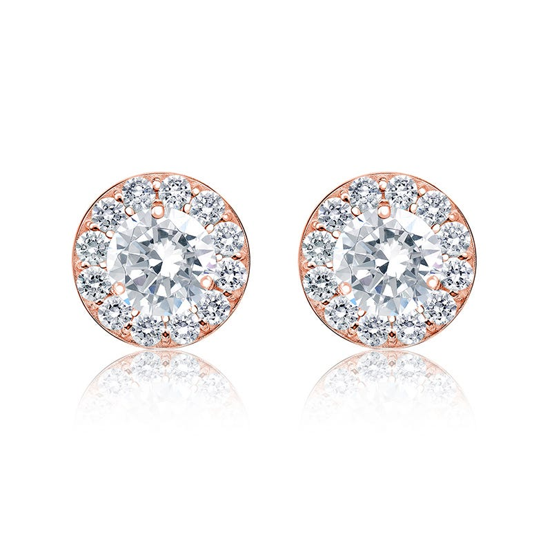 Diamond 1ct. t.w. Halo Stud Earrings in 14k Rose Gold
