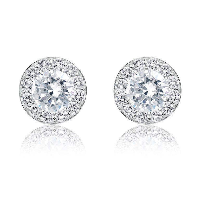 Diamond 2ct. t.w. Halo Stud Earrings in 14k White Gld