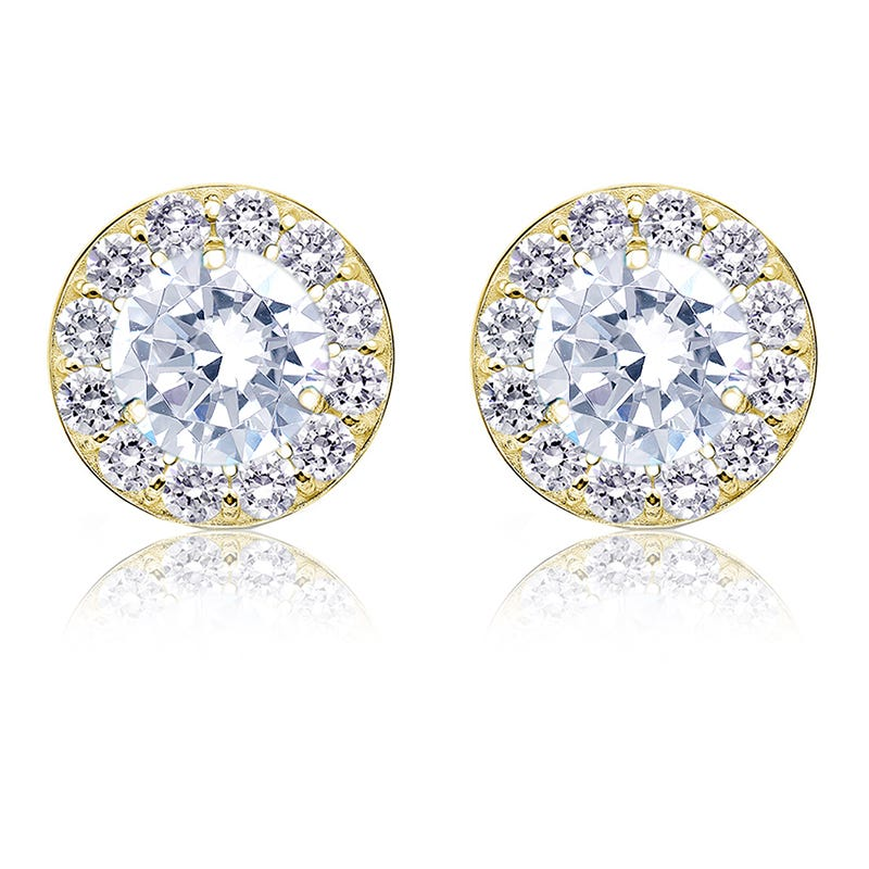 Brilliant-Cut 2ct. t.w. Diamond Halo Stud Earrings in 14k Yellow Gold