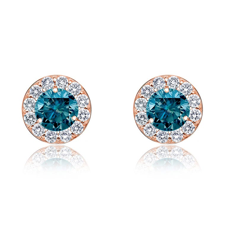 Blue Diamond Halo ½ct. t.w. Stud Earrings in 14k Rose Gold