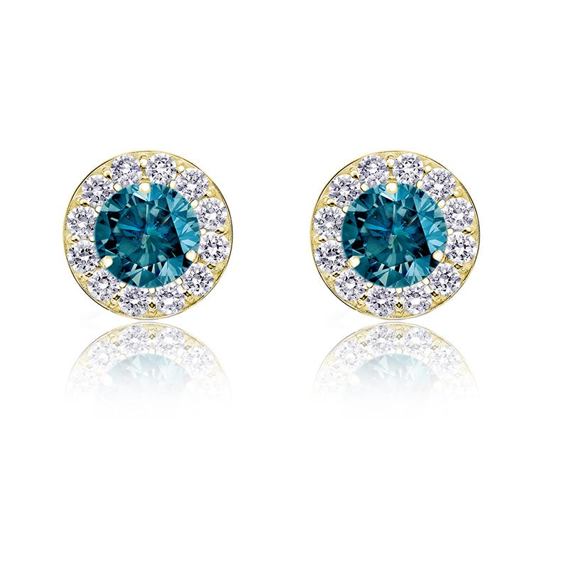 Blue Diamond ½ct. t.w. Halo Stud Earrings in 14k Yellow Gold