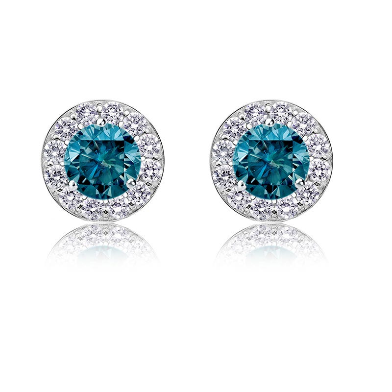 Blue Diamond 3/4ct. t.w. Halo Stud Earrings in 14k White Gold