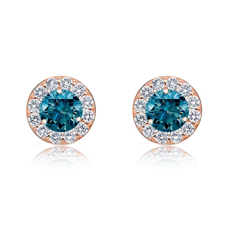 Blue Diamond ¾ct. t.w. Stud Earrings in 14k Rose Gold
