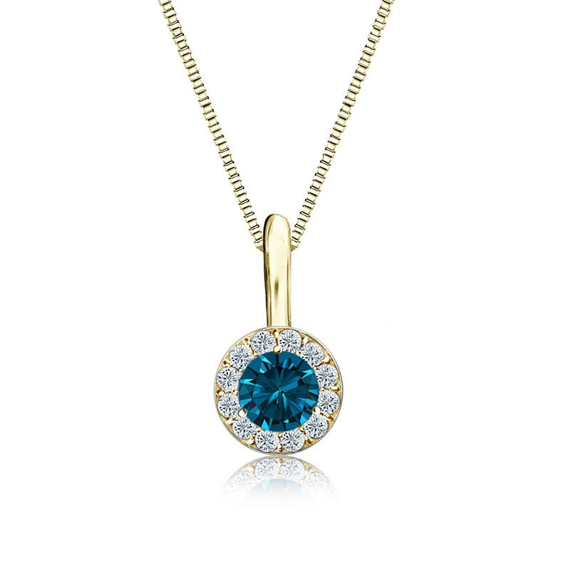 Blue & White Diamond Halo ¼ct. Pendant in 14k Yellow Gold