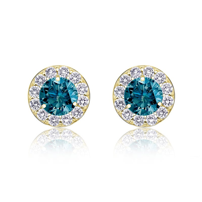 Blue Diamond ¾ ct. t.w. Halo Stud Earrings in 14k Yellow Gold