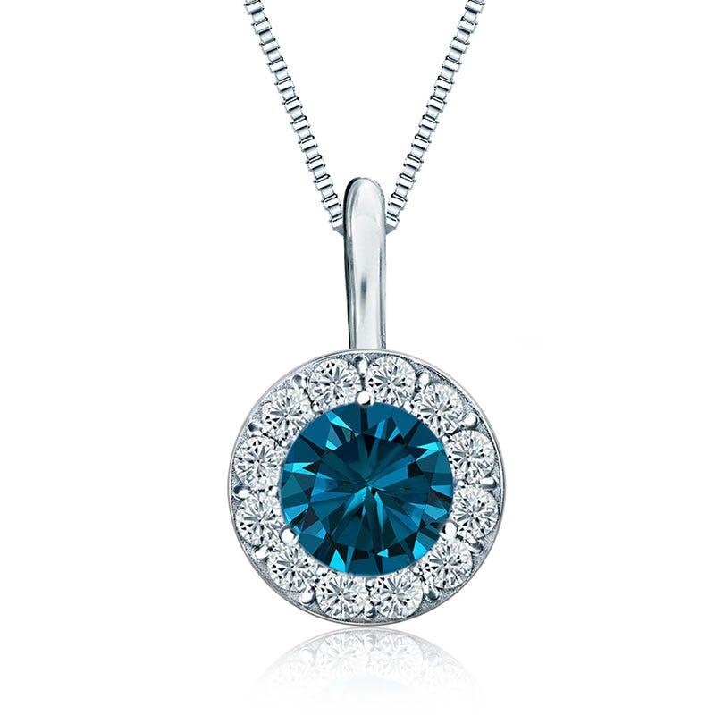 Blue & White ½ ct. Diamond Halo Pendant in 14k White Gold