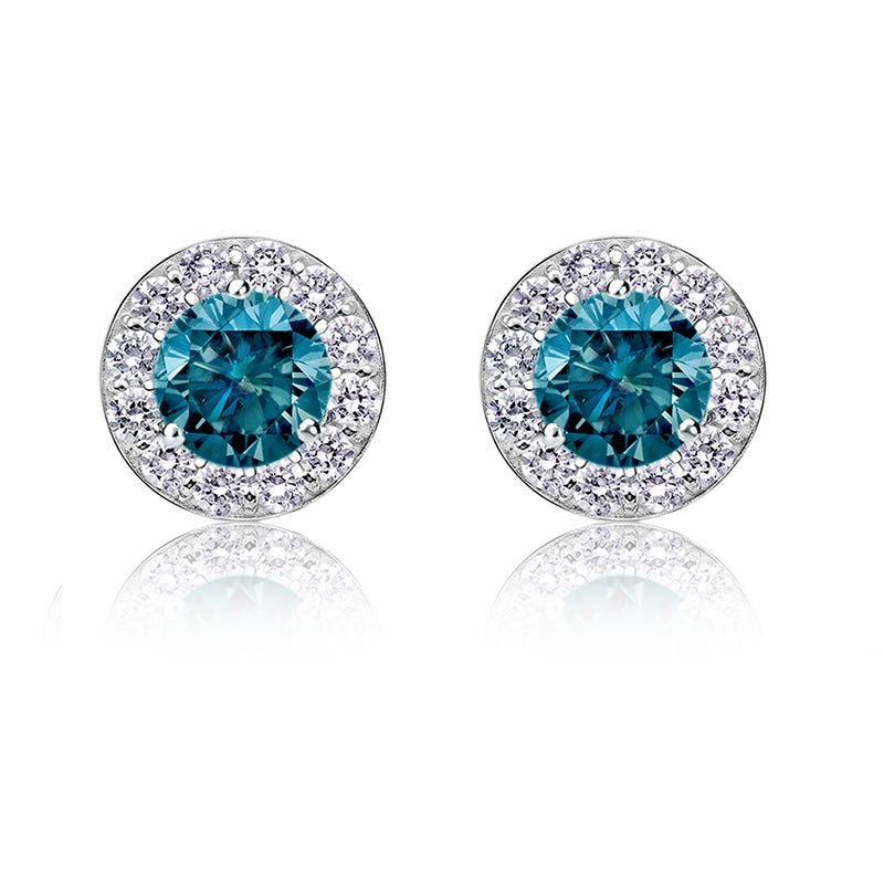 Blue 1ct. t.w. Diamond Halo Stud Earrings in 14k White Gold
