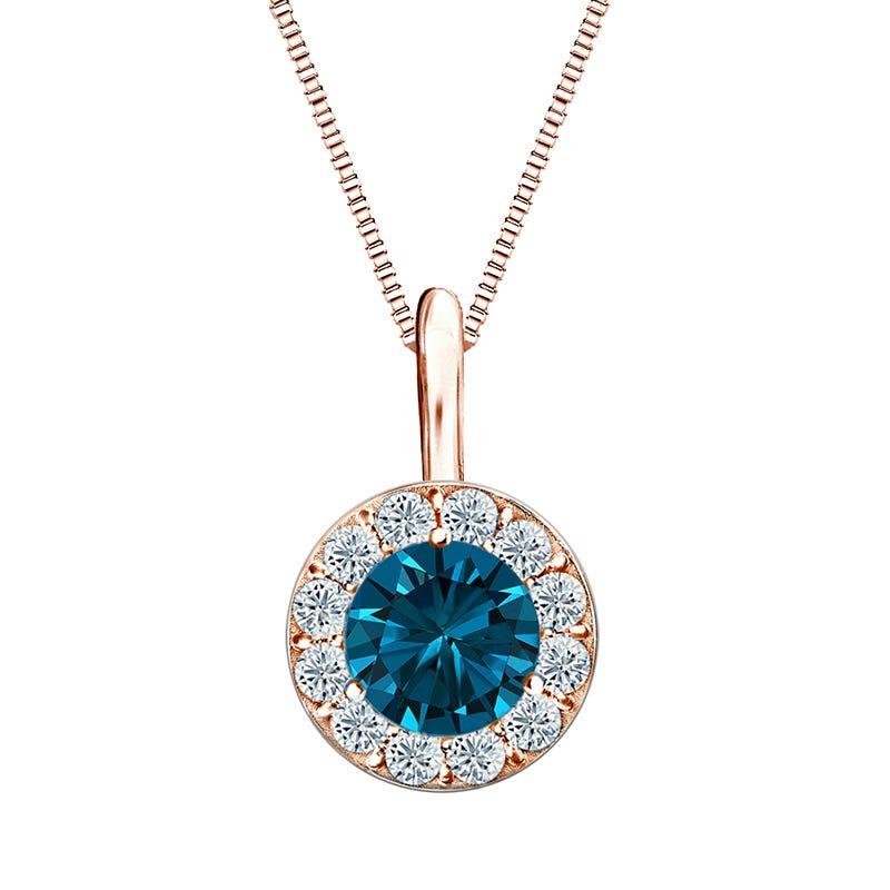 Blue Diamond & White Diamond Halo ½ct. t.w. in 14k Rose Gold