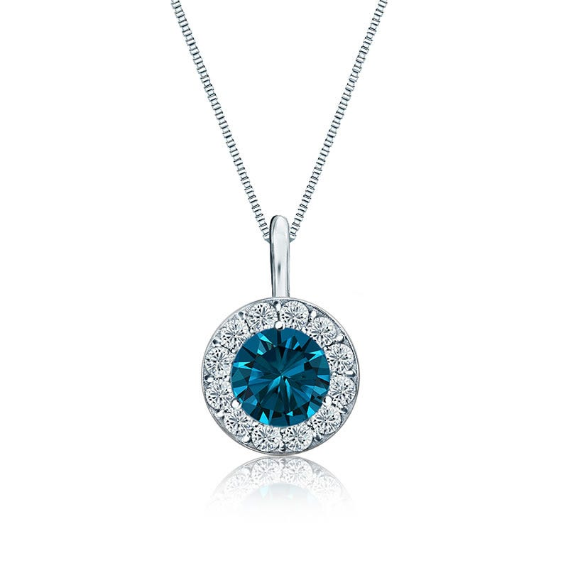 Blue & White Diamond Halo ¾ct. Pendant in 14k White Gold