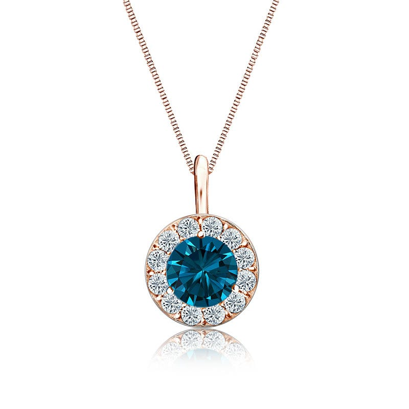 Blue & White Diamond Halo ¾ct. Pendant in 14k Rose Gold