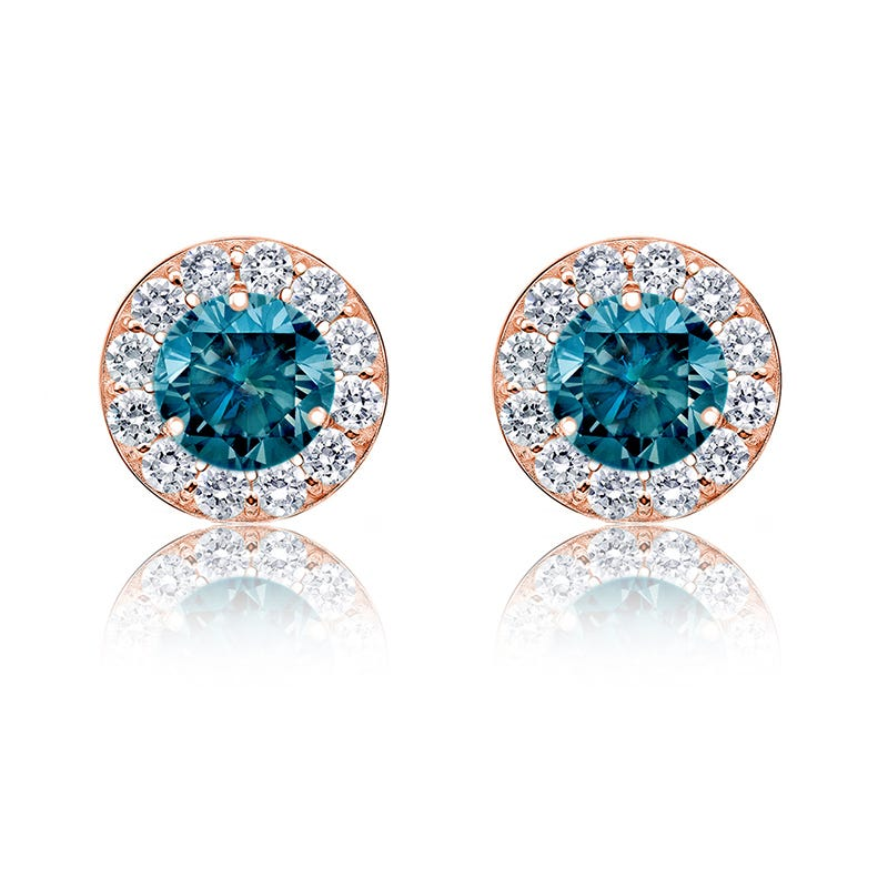 Blue & White Diamond 1½ct. Halo Stud Earrings in 14k Rose Gold