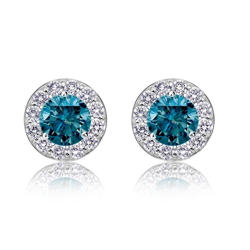 Blue Diamond 2ct. t.w. Halo Stud Earrings in 14k White Gold