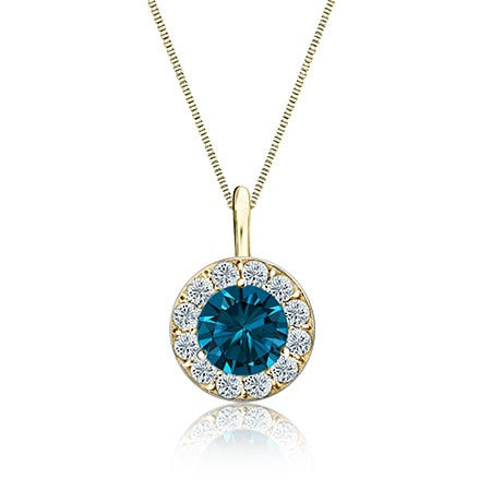 Blue & White Diamond Halo 1ct. Pendant in 14k Yellow Gold