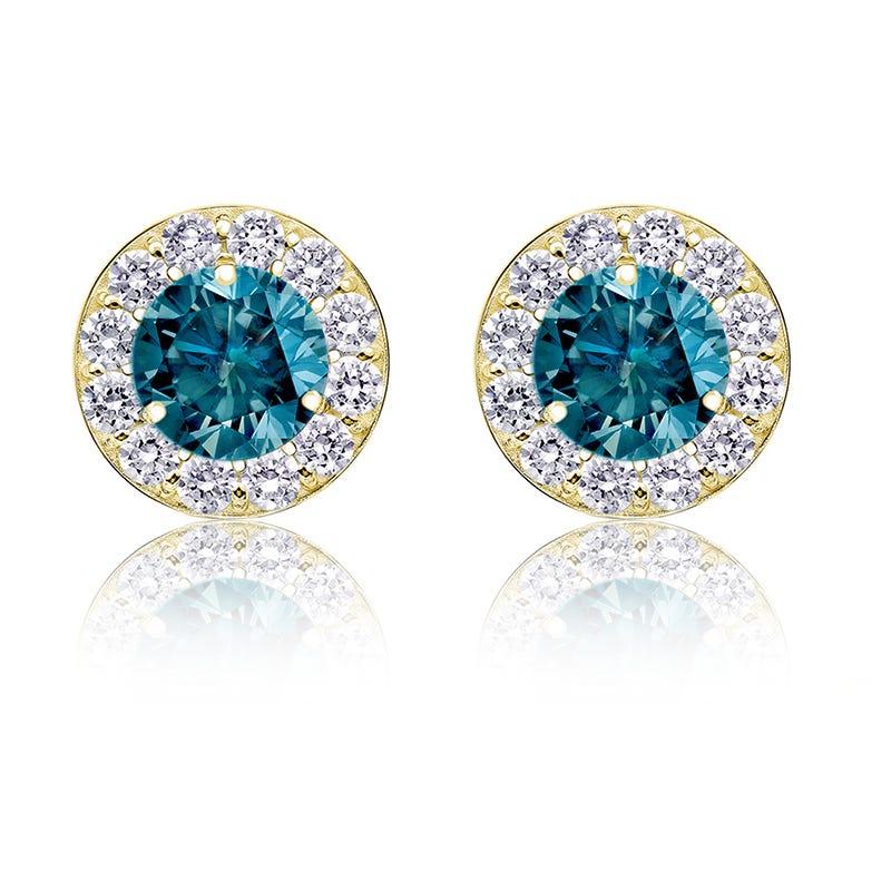 Blue 2ct. t.w. Diamond Halo Stud Earrings in 14k Yellow Gold