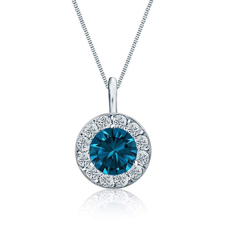 Genuine Blue & White Diamond Halo 1½ct. t.w. Pendant in 14k White Gold