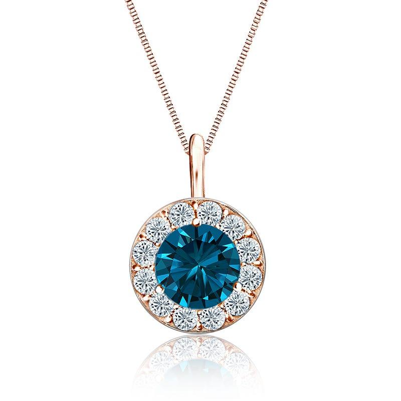 Blue & White 1 1/2ctw. Diamond Halo Pendant in 14k Rose Gold