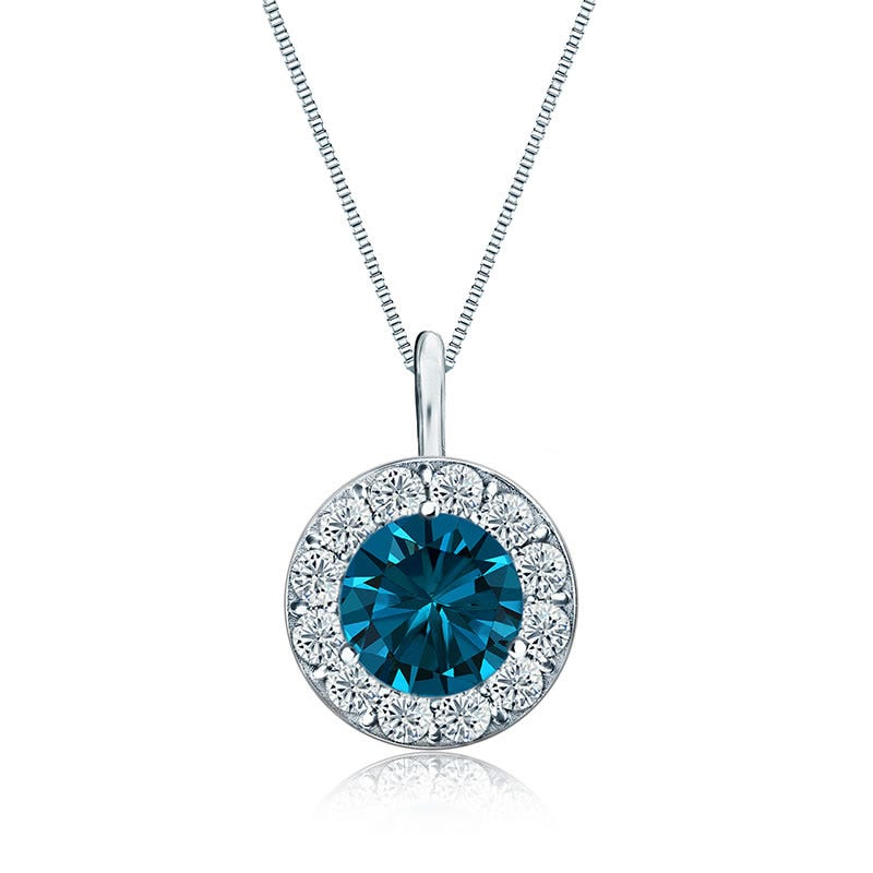 Blue & White Diamond Halo 2ct. Pendant in 14k White Gold