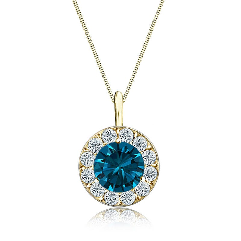 Blue & White Diamond Halo 2ct. Pendant in 14k Yellow Gold