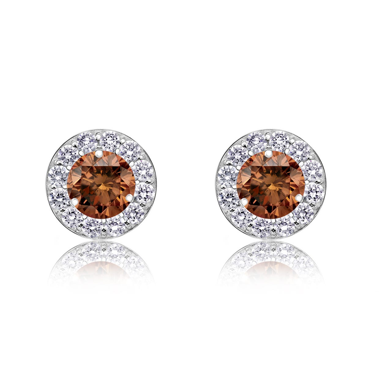 Champagne & White ½ct. Diamond Halo Stud Earrings in 14k White Gold