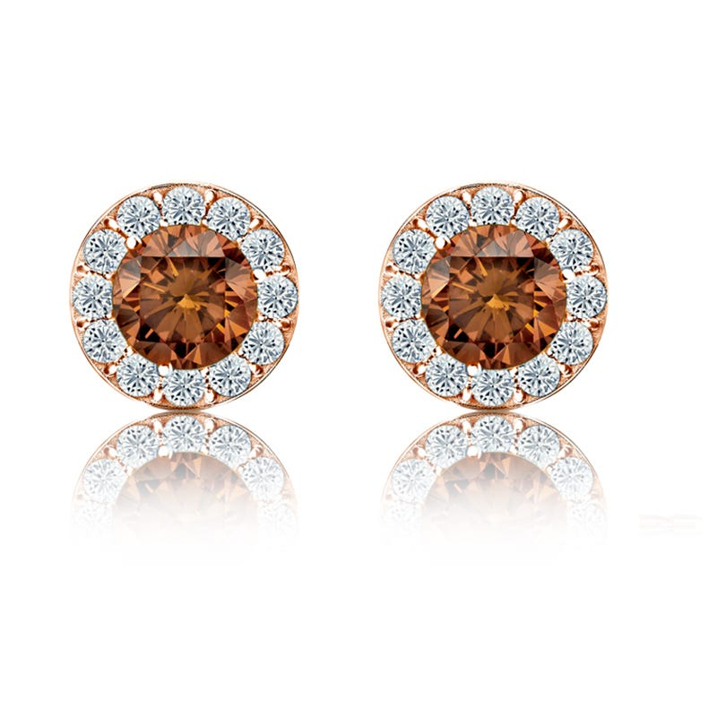 Champagne & White ½ct. Diamond Halo Stud Earrings in 14k Rose Gold
