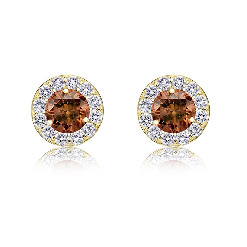 Champagne & White 1/2ct. Diamond Halo Stud Earrings in 14k Yellow Gold