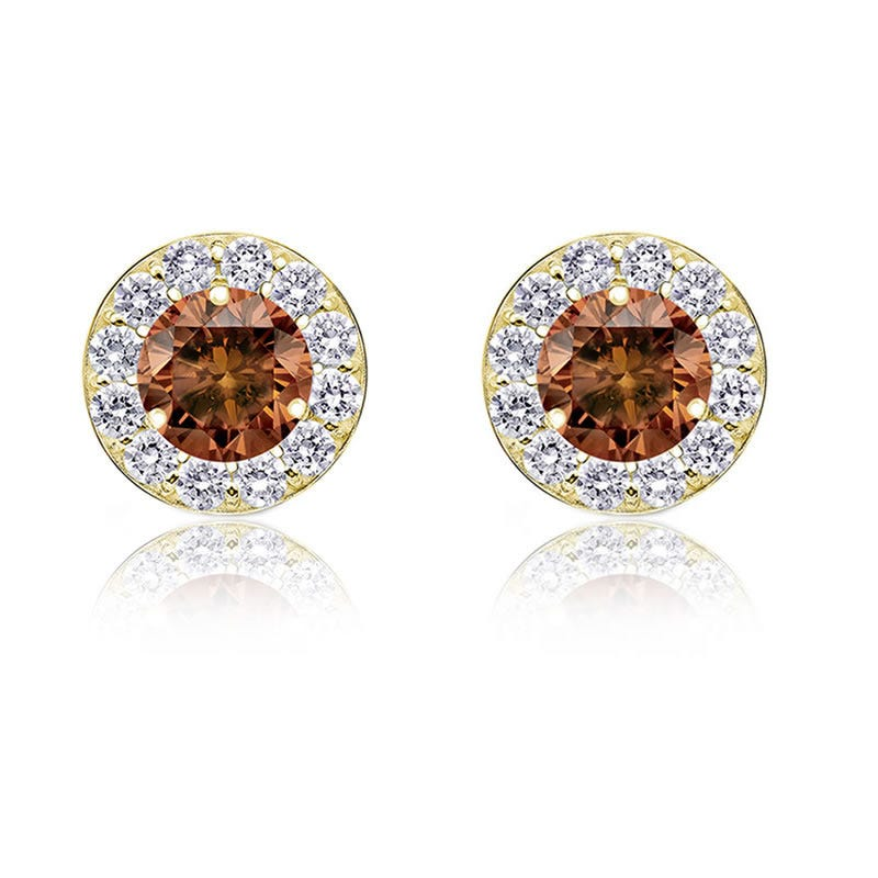 Champagne Diamond 2ct. t.w. Halo Stud Earrings in 14k Yellow Gold