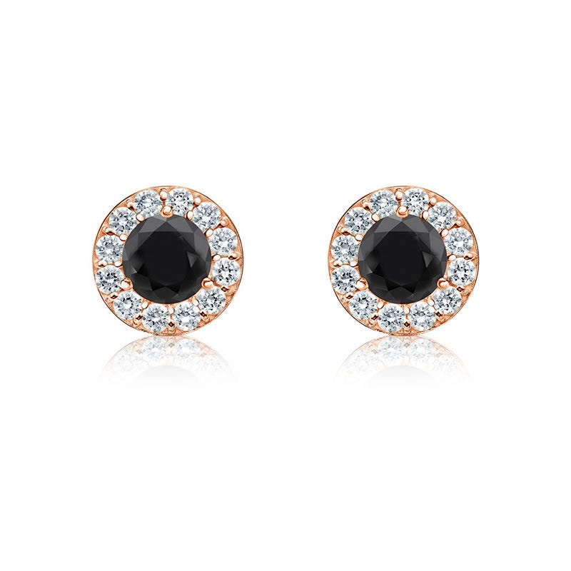 Black Diamond 1/4ct. t.w. Halo Stud Earrings in 14k Rose Gold