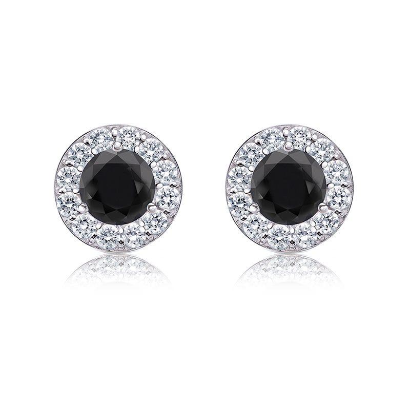Black & White 1ct. Diamond Halo Stud Earrings in 14k White Gold