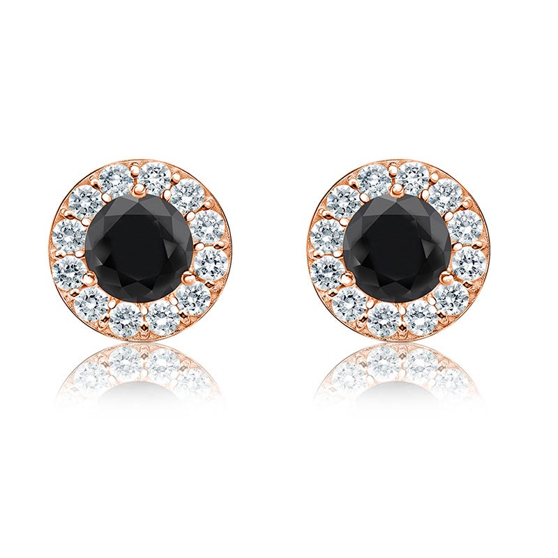 Black & White 1ct. Diamond Halo Stud Earrings in 14k Rose Gold