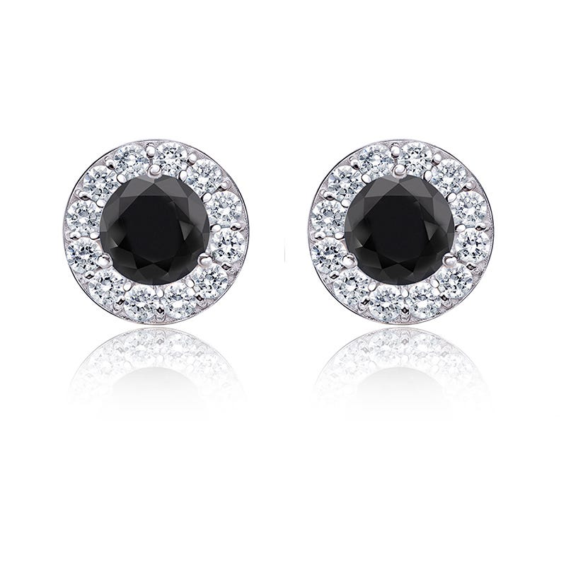 Black Diamond 1½ ct. t.w. Halo Stud Earrings in 14k White Gold