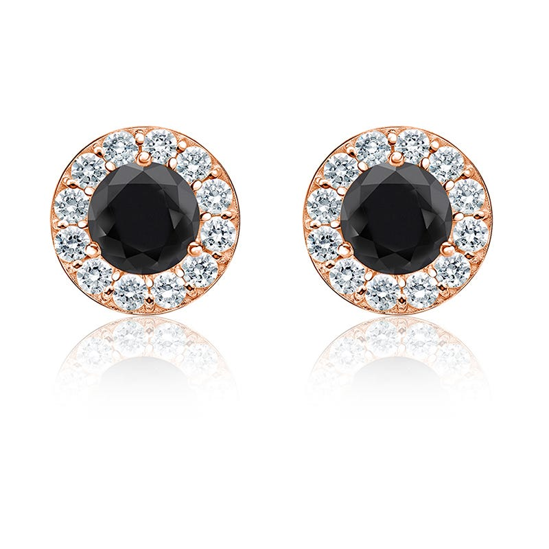 Black Diamond 1½ ct. t.w. Halo Stud Earrings in 14k Rose Gold
