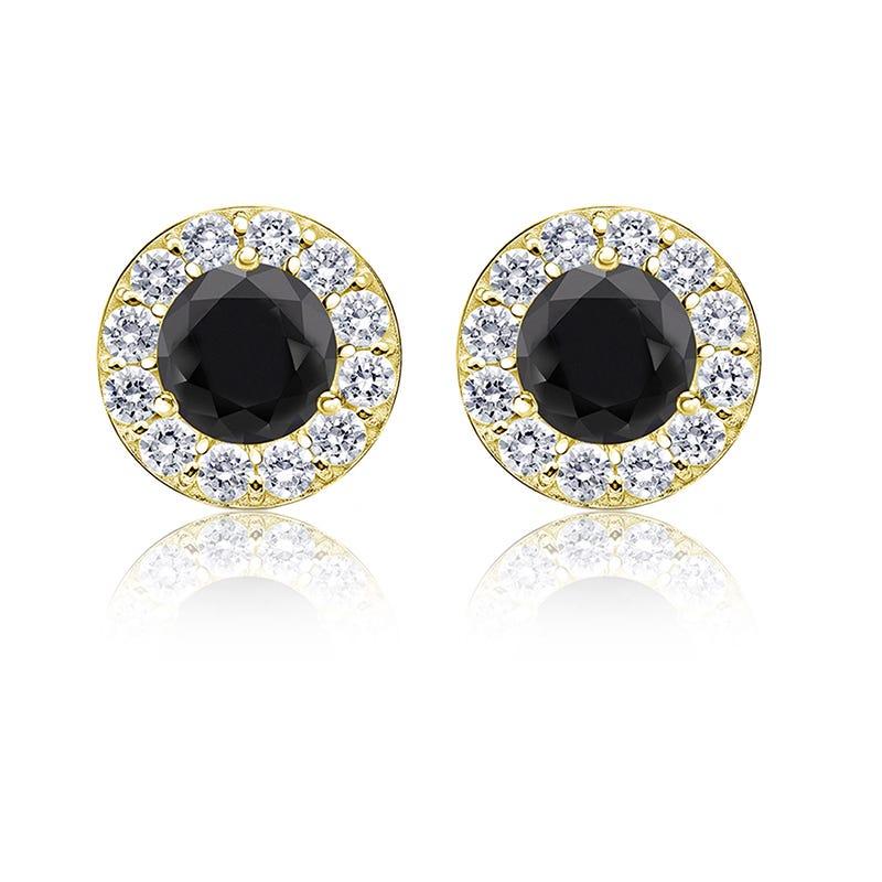 Black Diamond 1½ ct. t.w. Halo Stud Earrings in 14k Yellow Gold