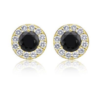 Black Diamond 1½ Ct T W Halo Stud Earrings In 14k Yellow Gold