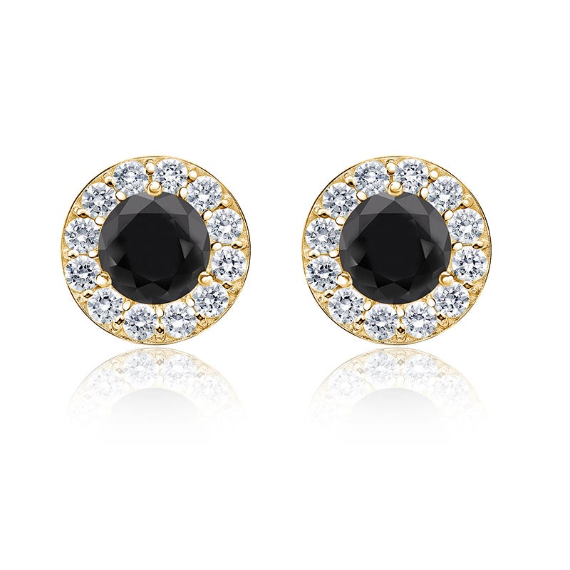 Black Diamond 2ct. t.w. Halo Stud Earrings in 14k Yellow Gold