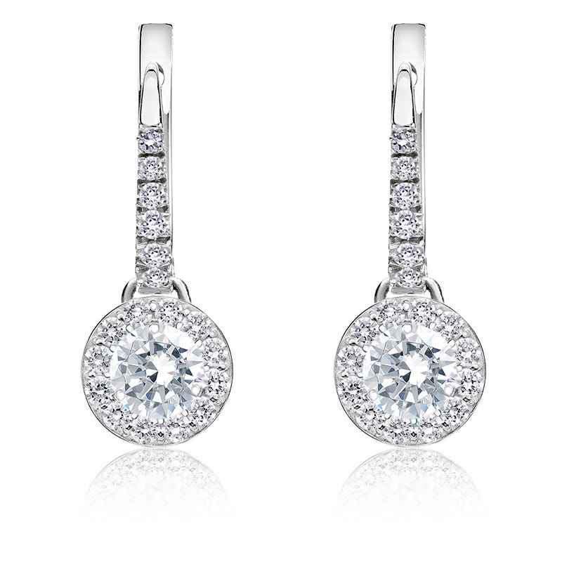 Diamond 1/2ctw. Halo Dangle Earrings in 14k White Gold
