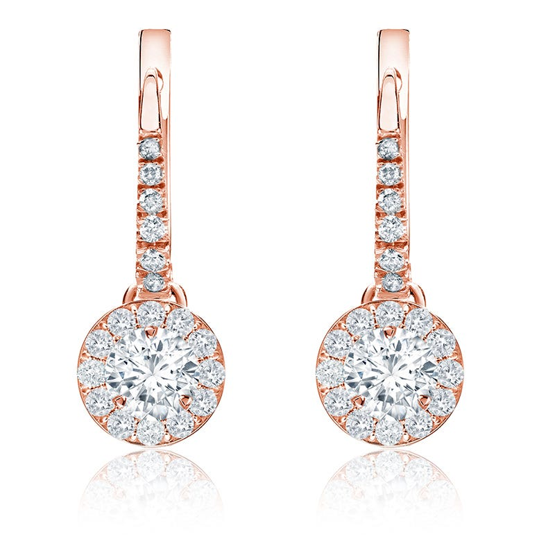Brilliant-Cut ½ct. Diamond Halo Dangle Earrings in 14k Rose Gold