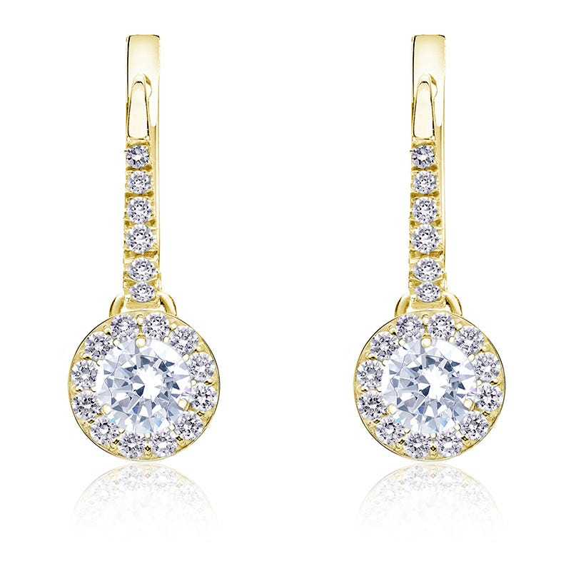 Diamond Halo ½ct. t.w. Dangle Earrings in 14k Yellow Gold
