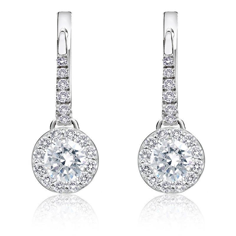 Brilliant-Cut ¾ct. Diamond Halo Dangle Earrings in 14k White Gold