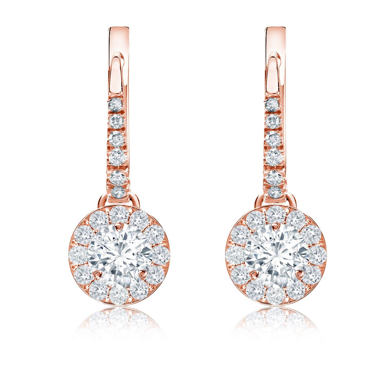 Diamond Halo ¾ct. t.w. Dangle Earrings in 14k Rose Gold